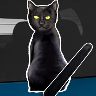 Black Cat A rear window wagging wiper tail sticker