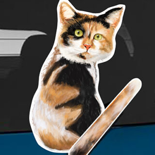 Calico cat A rear window wagging wiper tail sticker
