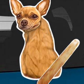 Chihuahua A dog rear window wagging wiper tail sticker