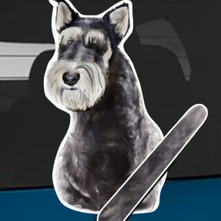 Schnauzer A dog rear window wagging wiper tail sticker