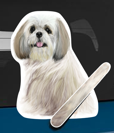 Shih Tzu A dog rear window wagging wiper tail sticker
