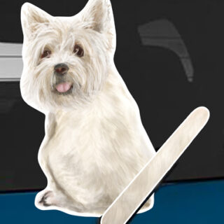 West Highland Terrier A dog rear window wagging wiper tail sticker