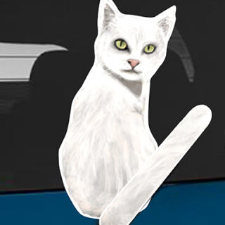 White Cat A dog rear window wagging wiper tail sticker