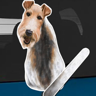 Wire Hair Fox Terrier A dog rear window wagging wiper tail sticker
