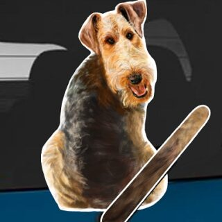 Airedale Terrier dog rear window wagging wiper tail sticker