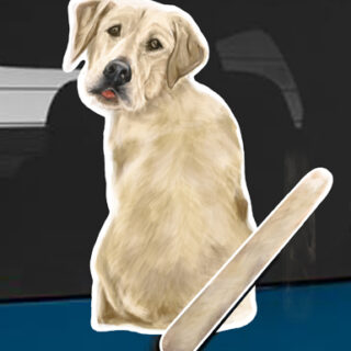 Yellow lab A dog rear window wagging wiper tail sticker